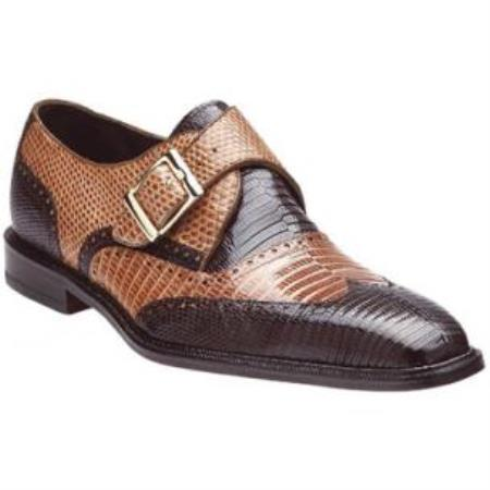Belvedere Pasta Lizard skin Wingtip Monk Strap Shoes for Men Coco Chocolate brown / Camel