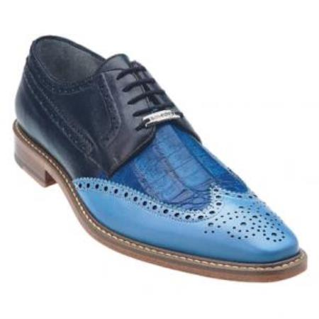 Belvedere Ciro crocodile skin & Calfskin Wingtip Shoes for Men Light Blue / Ocean / Navy