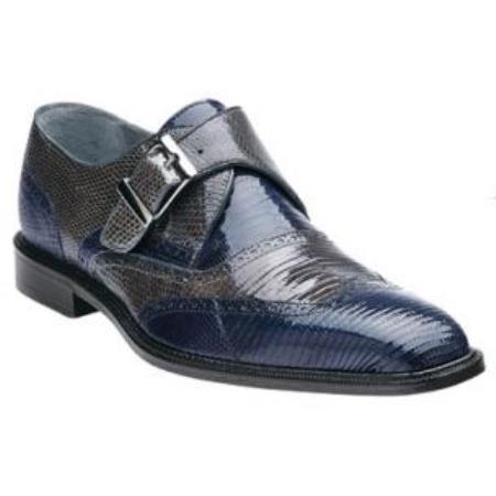 Belvedere Pasta Lizard skin Wingtip Monk Strap Shoes for Men Navy / Gray