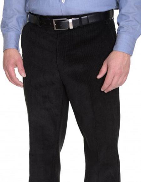 Black Formal Flat Front Ralph Lauren Corduroy Cotton Dressy Pant