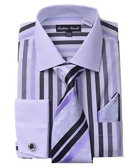 Classic Fit French Cuff Striped Dark color black Dress Cheap Fashion Clearance Shirt Sale Online For Men With Matching Tie And Hanky