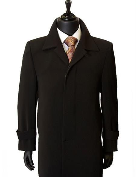 Retro Clothing for Men | Vintage Men's Fashion full length overcoats for men Inch full length-Length Duster Coat Dark color black Dress Trench Top Coat $200.00 AT vintagedancer.com