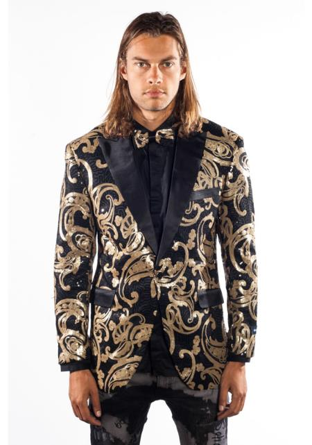 Men's Steampunk Jackets, Coats & Suits Shiny Sequin Flashy Blazer  Sport Coat Tuxedo BlackGold Fashion Paisley Jacket $197.00 AT vintagedancer.com