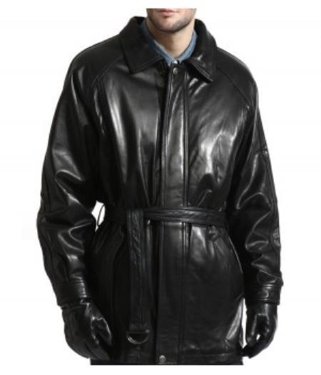 1950s Men's Jackets Lambskin Leather skin Belted 42798 Coat With zip-Out Liner $480.00 AT vintagedancer.com