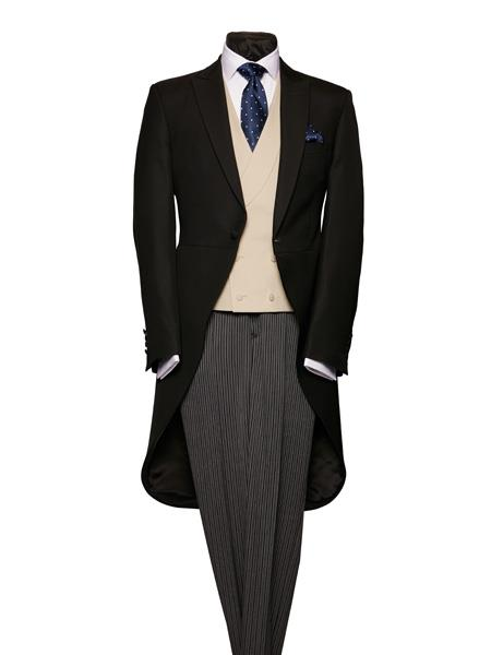 Victorian Mens Suits & Coats Black Light Weight Wool Morning Coat With Stripe Pattern Trousers $586.00 AT vintagedancer.com