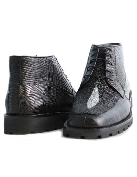 Black Lizard & Formal Shoes For Men Stingray Hornback Classic Stylish Genuine Dress Ankle Los Altos Boots