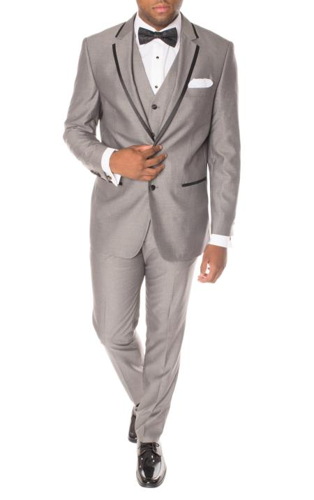 3 Piece Slim Fit Grey And Black Trimmed Polyester Vested Cheap Homecoming Tuxedo - Groomsmen Suits - Grey Tuxedo - Gray Tuxedo