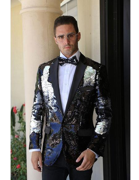 Black Fashion Paisley Print Patterned Tuxedo Sequin Glitter ~ Shiny ~ Flashy ~ Shark Skin Fancy Party Best Cheap Blazer For Affordable Cheap Priced Unique Fancy For Men Available Big Sizes on sale Men Affordable Sport Coats Sale