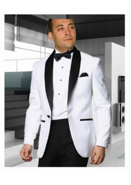 White Tuxedo with a Black Shawl Lapel Jackets Blazer ~ Suit Jacket Cheap Fashion Big and Tall Large Man ~ Plus Size Plus Size