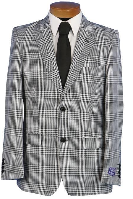 Men S Blu Martini Black White Glen Plaid Blazer