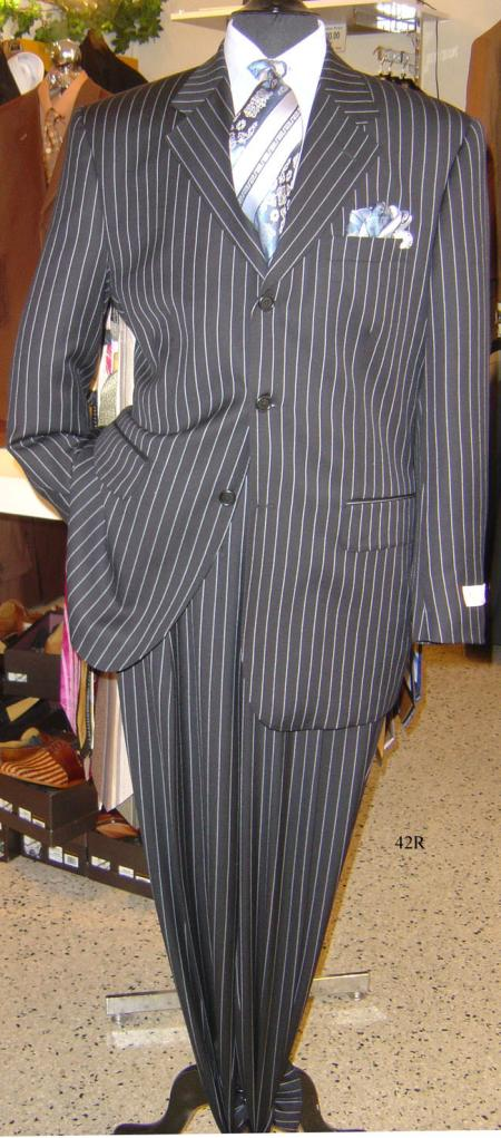 1940s Mens Clothing Chalk pronounce visible Sharp pronounce visible White Pinstripe Available in 5 Colors Dress To kill $150.00 AT vintagedancer.com