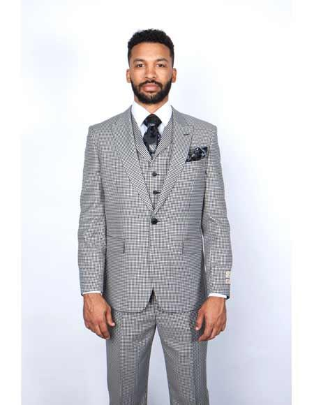 Single Breasted One Button Peak Lapel 1 Wool Black/White Vested Suit