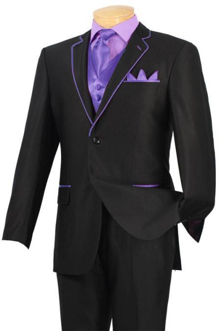 Tuxedo Dark color black Lavender Trim Microfiber 2 Button No
