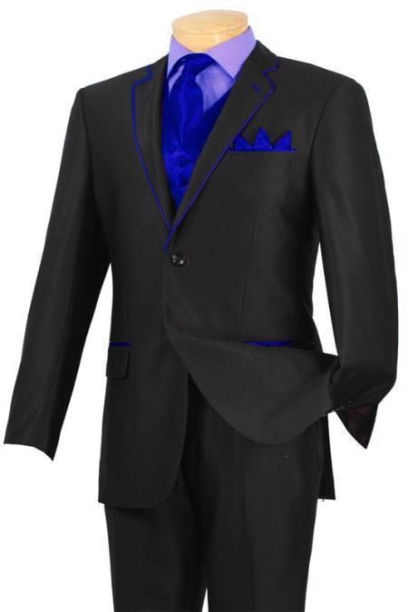 Tuxedo Dark color black Royal Blue Trim Microfiber 2 Button