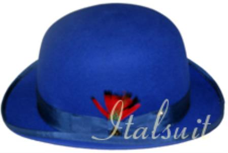 bowler derby style ~ Bowler Royal Blue Wool fabric Stylish Hat