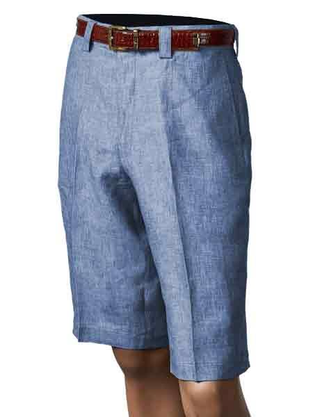 Men's Vintage Style Pants, Trousers, Jeans, Overalls Ocean Blue Linen Pleated creased Inserch clothing line Merc Flat Front Shorts $61.00 AT vintagedancer.com