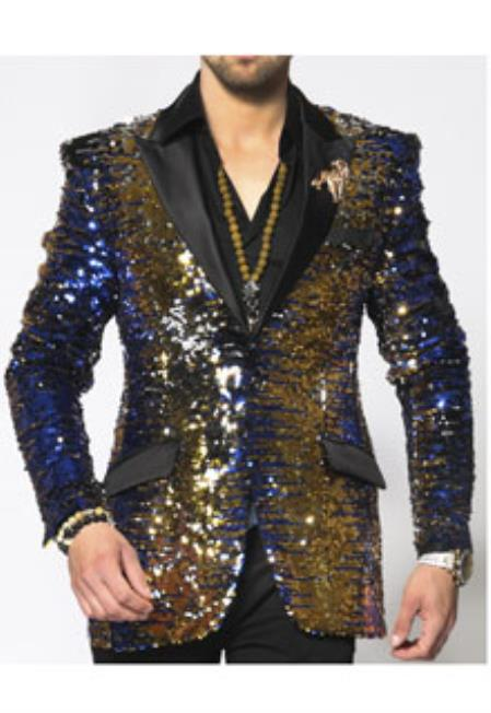 Blue Gold Black Color Sequin Paisley Dinner Jacket Blazer
