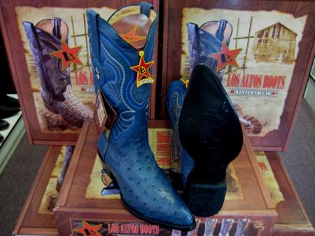Authentic Los altos Botas De Avestruz Jean Blue Genuine Full Quill Ostrich western Dress Cowboy Boot Cheap Priced For Sale Online