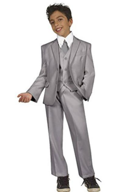 Children Kids Boys Tazio Chest welt Pocket 5 piece kids suits available in little boys 3 three piece suit with Vest, Shirt & Tie Light Grey