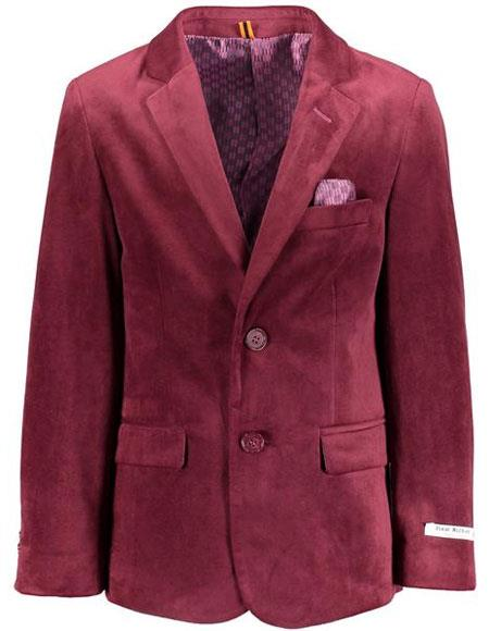 50fc0b22b Boys ~ Children ~ Kids ~ 2 Buttons Burgundy Velvet Blazers