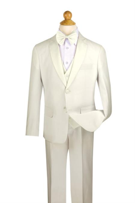 ID#SM690 Boy's Ivory Two Button Wool Feel Kids Sizes 5 Piece Tuxedo Pleated Pant,Shirt And Bow Tie