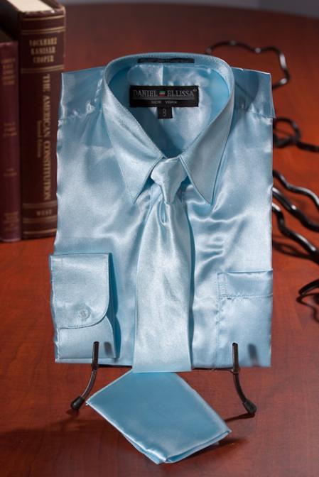 1adc5a9030646 Children Kids Boys Light Blue Satin Dress Shirt Combo