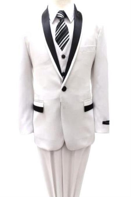 Children Kids Boys Shawl Collar Prom ~ Wedding Groomsmen 3 Piece Two Tone All White with Black Gorgeous Stunning Toddler Suit Perfect For Wedding Attire Outfits