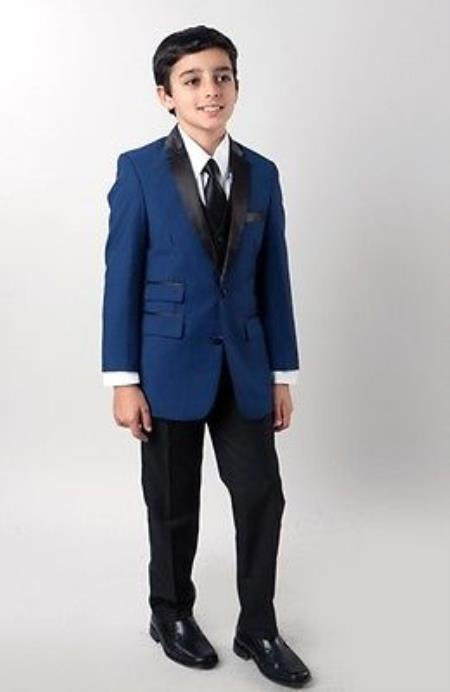 Shawl Collar Tuxedo, 4 Piece Children Kids Boys Slim Suit, T