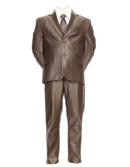 Boys Taupe Color Shiny Suit