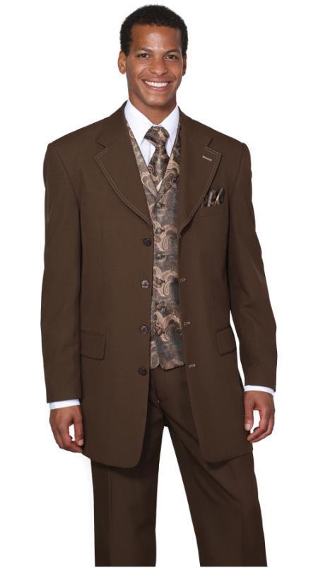 Mens Three Piece Navy Suit, 4 Button Designer Church Suit