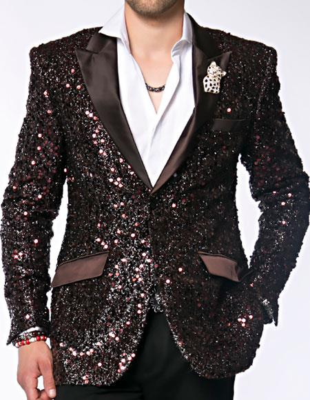 Brown Dinner Jacket Tuxedo Sequin Paisley Blazer