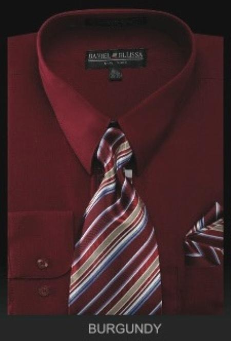 Mens Burgundy Dress Shirt Premium Necktie With Hanky