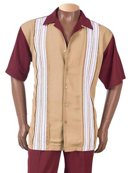 1950s Mens Shirts | Retro Bowling Shirts, Vintage Hawaiian Shirts Burgundy Sectional Design Button Up Casual Short Sleeve Leisure Suits $126.00 AT vintagedancer.com
