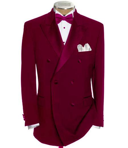New Vintage Tuxedos, Tailcoats, Morning Suits, Dinner Jackets Double Breasted Tuxedo Shirt  Bow Tie Package 6 on Two buttons Closer Style Jacket Burgundy  Maroon  Wine Color $596.00 AT vintagedancer.com