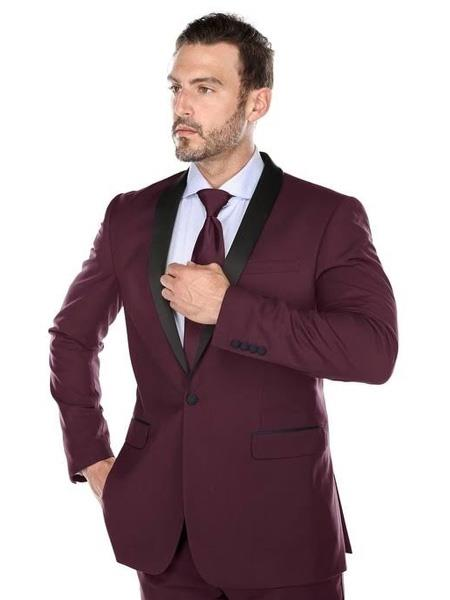 Wedding Burgundy Suit Slim Fit Prom ~ Maroon Suit Wedding Prom 1 Button  ~ Wedding Groomsmen Tuxedo
