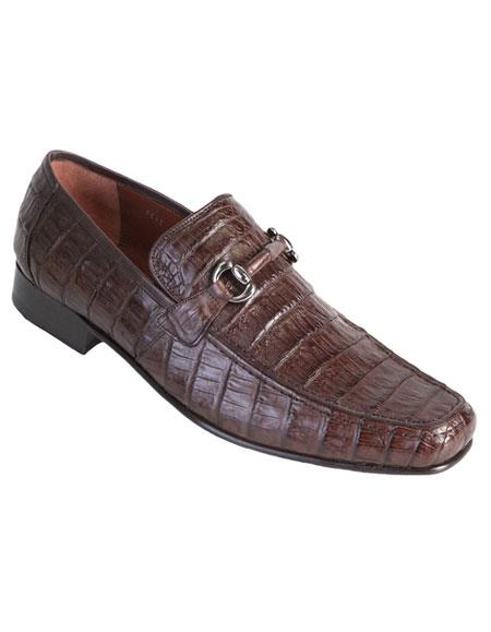 Los Altos Genuine Caiman Crocodile Belly Slip-On Stylish Casual Dress Shoes Brown