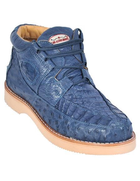 Los Altos Genuine Caiman & Ostrich Skin Stylish Casual Blue Jean Sneakers