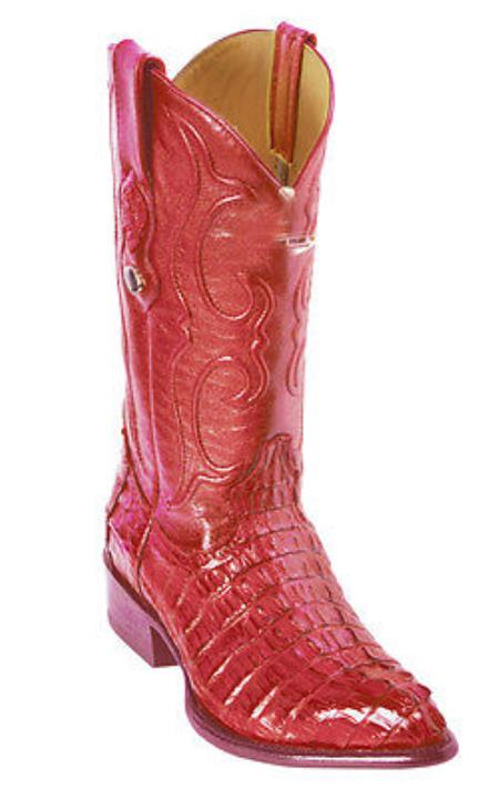 Mens Vintage Style Shoes & Boots| Retro Classic Shoes Caiman skin  Gator skin Tail Vintage Riding red pastel color Authentic Los altos Western Boots Western Classics $331.00 AT vintagedancer.com