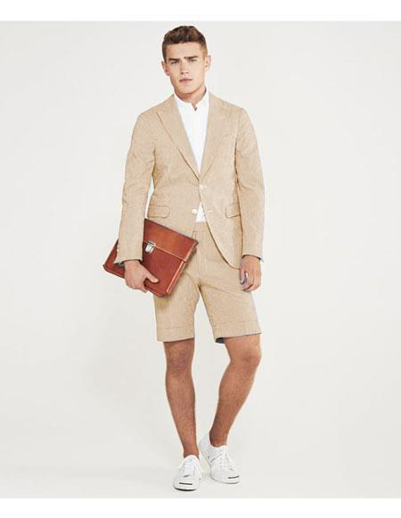 ID#DB24558 2 Button Suits Camel With Shorts Pants Set