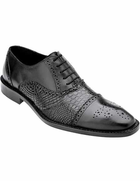 Men's Belvedere Cap Toe Style Laceup Black Alligator Italian Calfskin Shoes