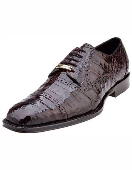 Men's Belvedere Brown Cap Toe Italian Style Crocodile Shoes
