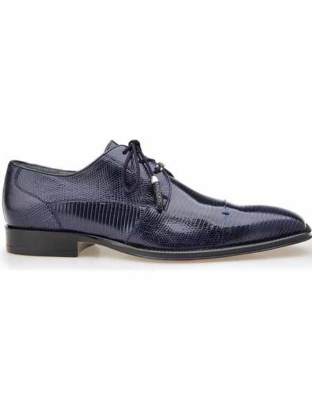 Men's Belvedere Cap Toe Style Navy Leather Teju Lizard Skin Laceup Shoes