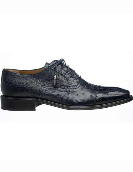 Navy Leather Sole Tasseled Ferrini Men's Alligator & Ostrich Quill Cap Laces Toe Shoes