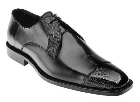 Belvedere Men's Ostrich Italian Black Calf Cap Toe Shoes