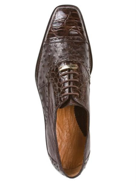 Men's Belvedere Ostrich Crocodile Onesto Brown Cap Toe Shoes
