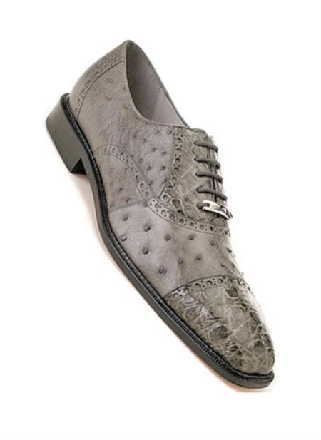 Men's Belvedere Ostrich Crocodile Cap Toe Onesto Gray Shoes