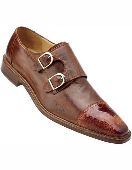Men's Belvedere Leather Double Buckle Cap Ostrich Trim Brandy Toe Shoes
