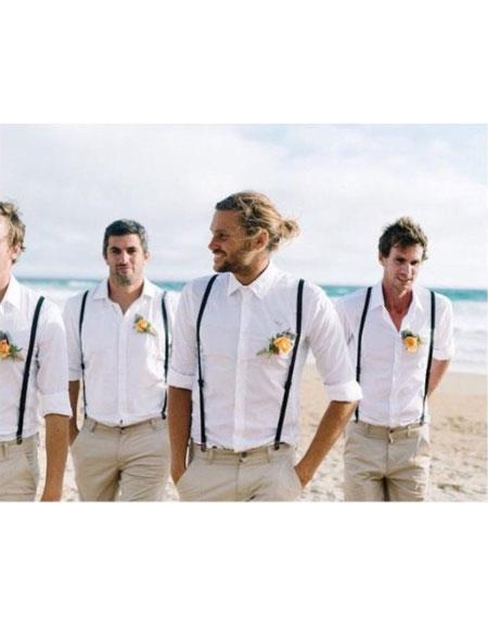 Casual Groomsmen Attire Any Color Shirt Pants Suspender