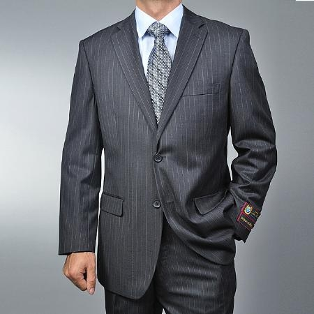 ID#WE4410 Dark Charcoal Masculine color Cheap Priced Fitted Tapered cut Grey Pinstripe 2-button Inexpensive ~ Cheap ~ Discounted Suit