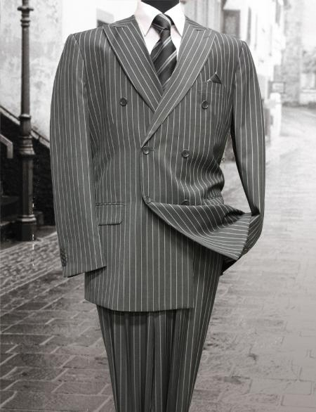 1940s Mens Suits | Gangster, Mobster, Zoot Suits Charcoal Masculine color Classic Double Breasted Suit with Pinstripe $160.00 AT vintagedancer.com